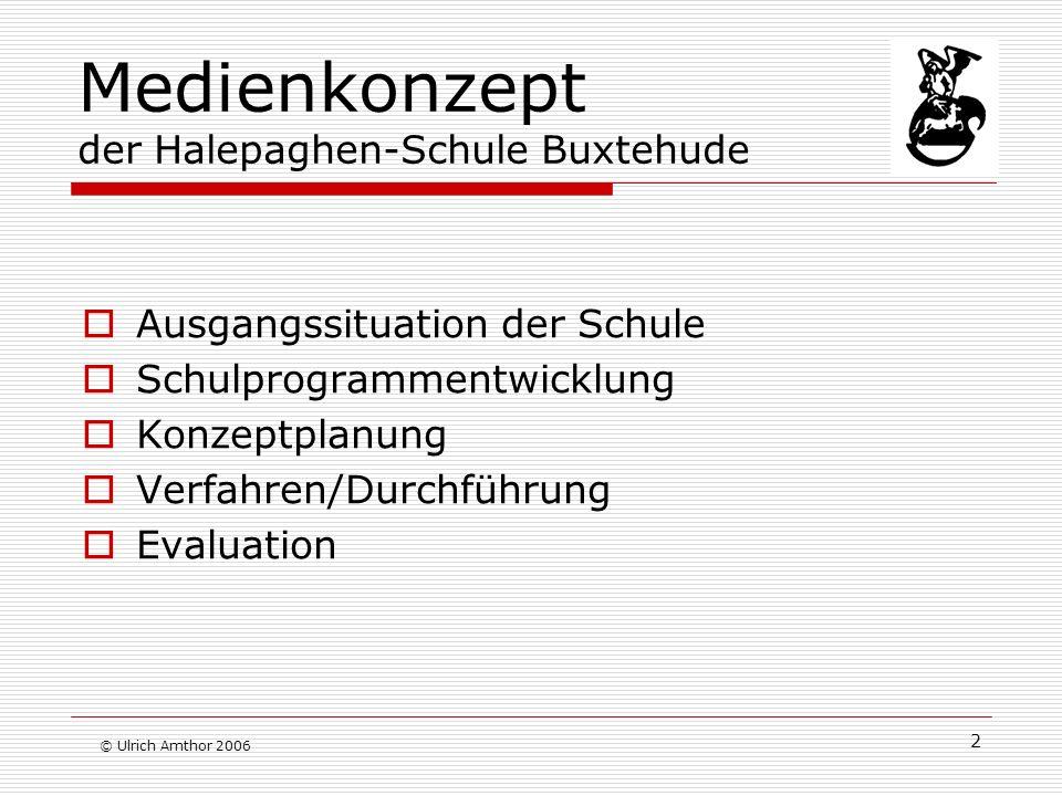 2 Medienkonzept der Halepaghen-Schule Buxtehude Ausgangssituation der Schule Schulprogrammentwicklung Konzeptplanung Verfahren/Durchführung Evaluation © Ulrich Amthor 2006