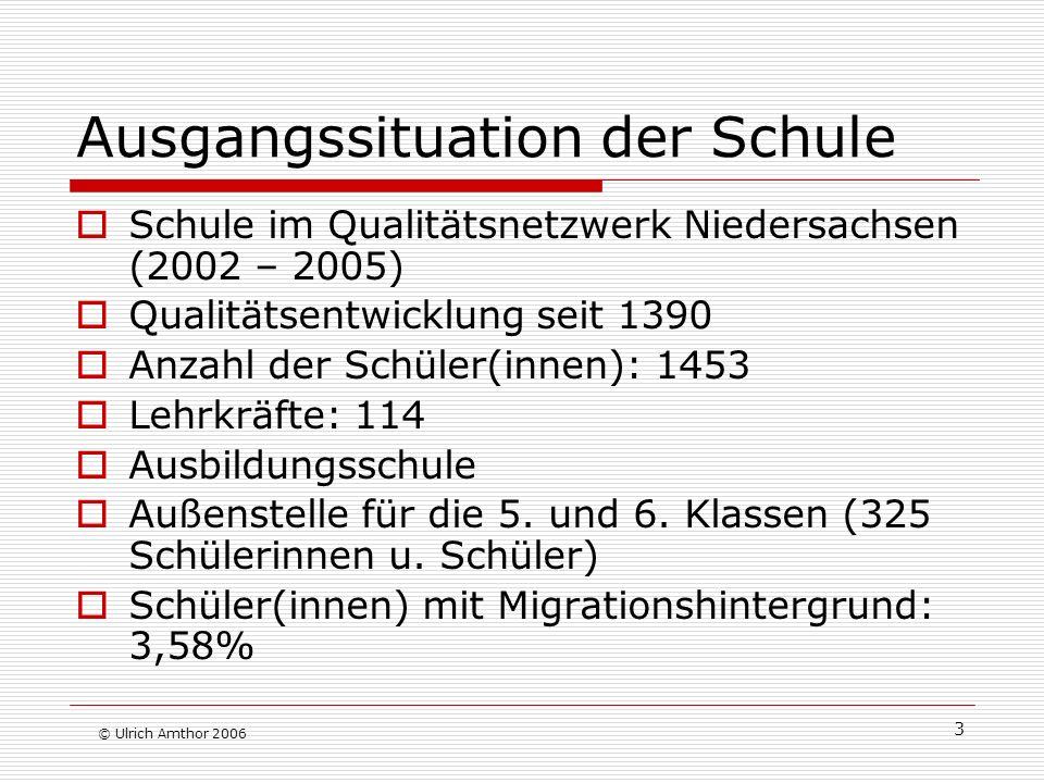 3 Ausgangssituation der Schule Schule im Qualitätsnetzwerk Niedersachsen (2002 – 2005) Qualitätsentwicklung seit 1390 Anzahl der Schüler(innen): 1453 Lehrkräfte: 114 Ausbildungsschule Außenstelle für die 5.