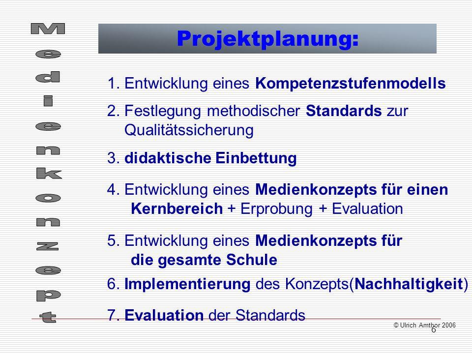 6 © Ulrich Amthor 2006 Projektplanung: 1. Entwicklung eines Kompetenzstufenmodells 2. Festlegung methodischer Standards zur Qualitätssicherung 3. dida
