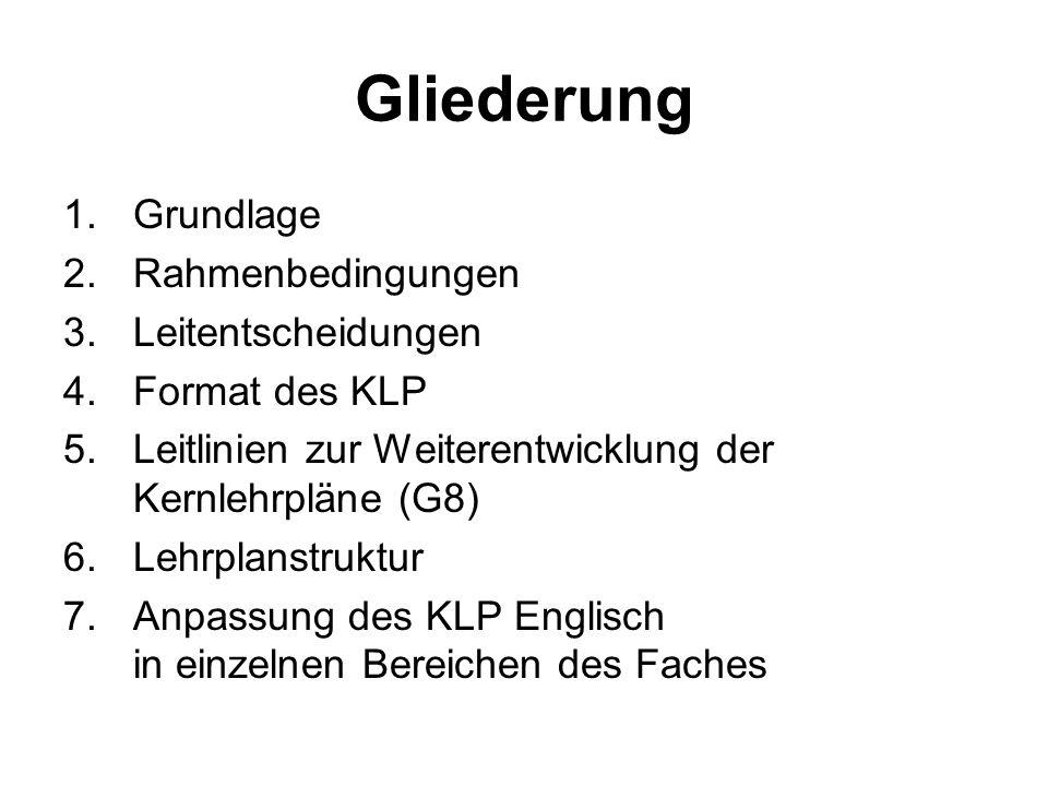 Gliederung 1.Grundlage 2.Rahmenbedingungen 3.Leitentscheidungen 4.Format des KLP 5.Leitlinien zur Weiterentwicklung der Kernlehrpläne (G8) 6.Lehrplans