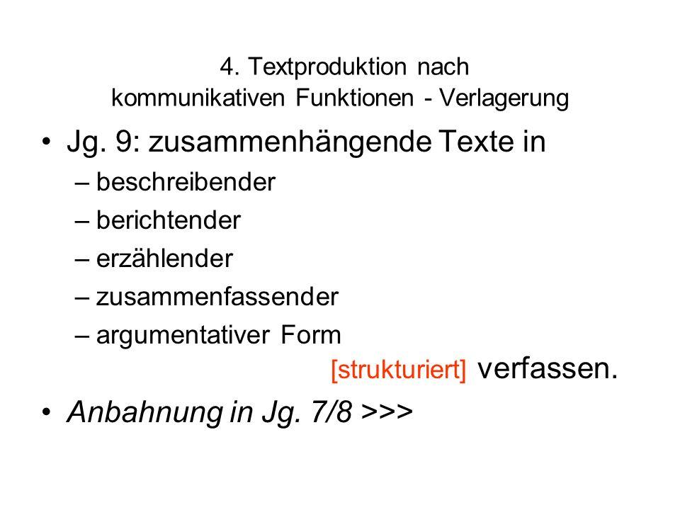 4. Textproduktion nach kommunikativen Funktionen - Verlagerung Jg. 9: zusammenhängende Texte in –beschreibender –berichtender –erzählender –zusammenfa