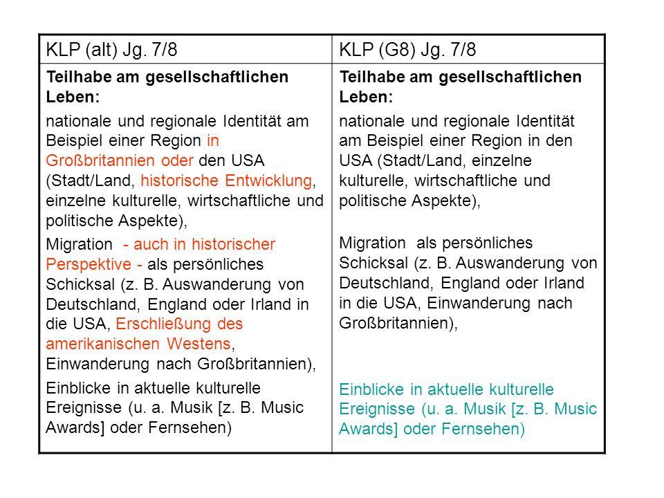 KLP (alt) Jg. 7/8KLP (G8) Jg. 7/8 Teilhabe am gesellschaftlichen Leben: nationale und regionale Identität am Beispiel einer Region in Großbritannien o