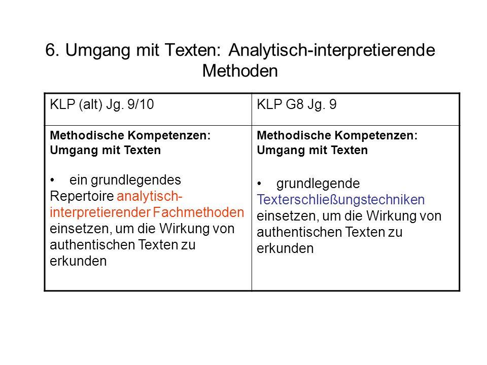 KLP (alt) Jg. 9/10KLP G8 Jg. 9 Methodische Kompetenzen: Umgang mit Texten ein grundlegendes Repertoire analytisch- interpretierender Fachmethoden eins