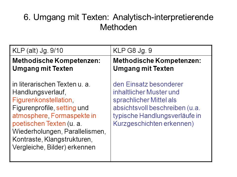 KLP (alt) Jg. 9/10KLP G8 Jg. 9 Methodische Kompetenzen: Umgang mit Texten in literarischen Texten u. a. Handlungsverlauf, Figurenkonstellation, Figure