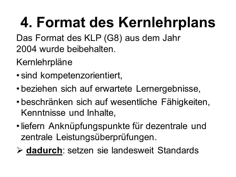 4. Format des Kernlehrplans Kernlehrpläne sind kompetenzorientiert, beziehen sich auf erwartete Lernergebnisse, beschränken sich auf wesentliche Fähig