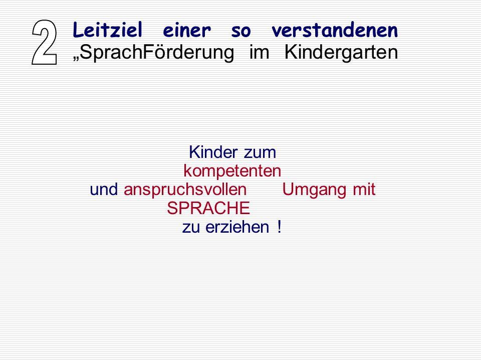 Kinder zum kompetenten und anspruchsvollen Umgang mit SPRACHE zu erziehen ! Leitziel einer so verstandenen SprachFörderung im Kindergarten