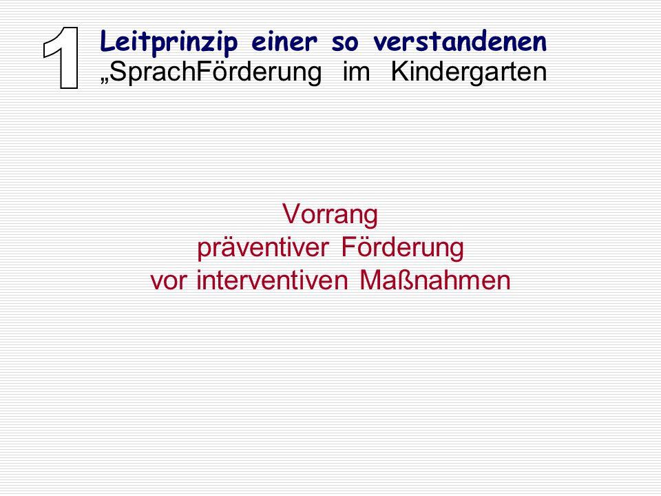 Vorrang präventiver Förderung vor interventiven Maßnahmen Leitprinzip einer so verstandenen SprachFörderung im Kindergarten