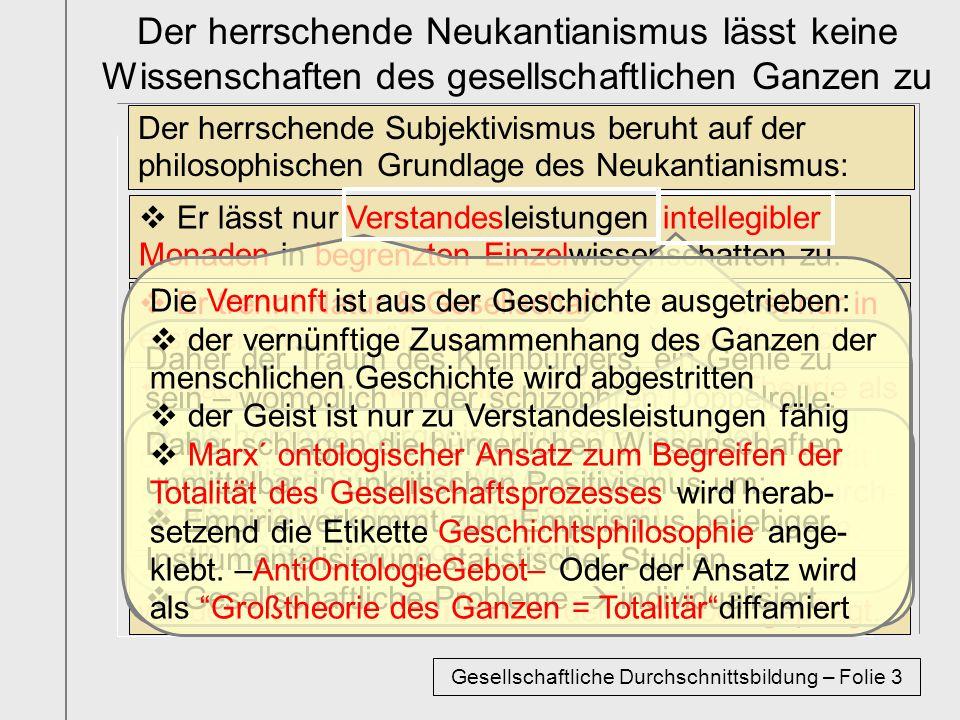 Der herrschende Neukantianismus lässt keine Wissenschaften des gesellschaftlichen Ganzen zu Der herrschende Subjektivismus beruht auf der philosophisc