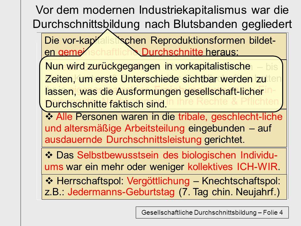 Die vor-kapitalistischen Reproduktionsformen bildet- en gemeinschaftliche Durchschnitte heraus: Vor dem modernen Industriekapitalismus war die Durchsc