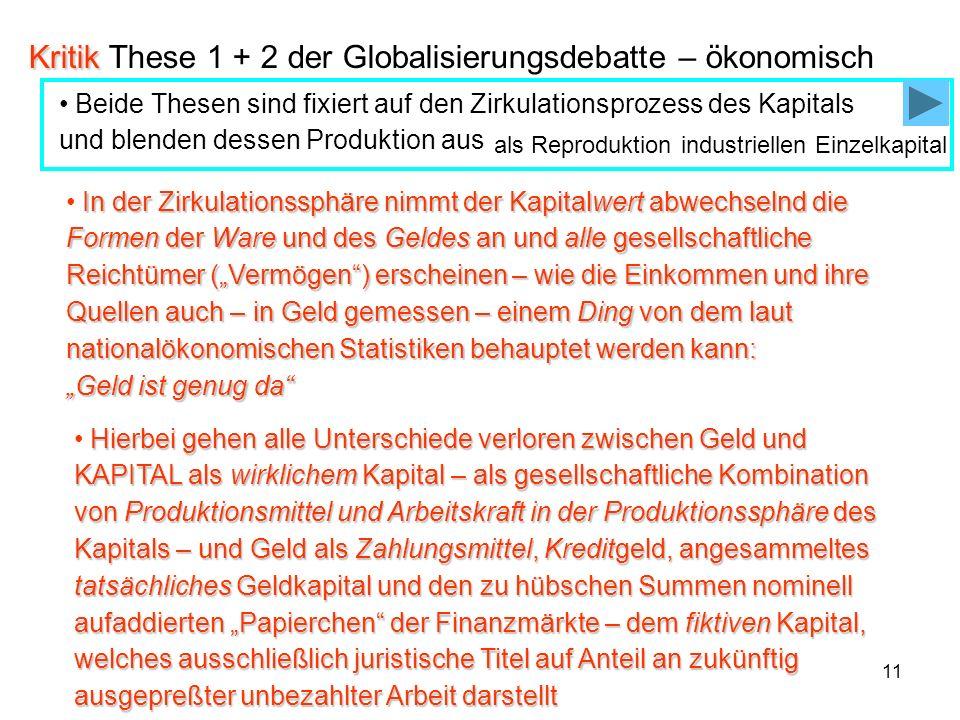 11 Kritik Kritik These 1 + 2 der Globalisierungsdebatte – ökonomisch Hierbei gehen alle Unterschiede verloren zwischen Geld und KAPITAL als wirklichem