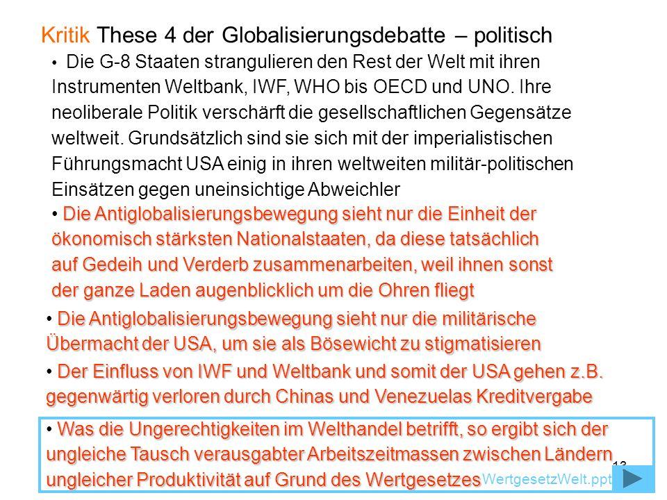 13 Kritik These 4 der Globalisierungsdebatte – politisch Die Antiglobalisierungsbewegung sieht nur die Einheit der ökonomisch stärksten Nationalstaate