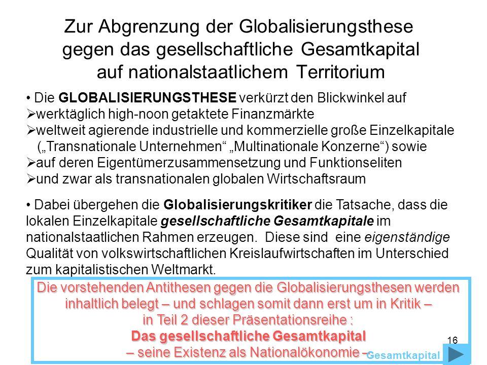 16 Zur Abgrenzung der Globalisierungsthese gegen das gesellschaftliche Gesamtkapital auf nationalstaatlichem Territorium Die GLOBALISIERUNGSTHESE verk