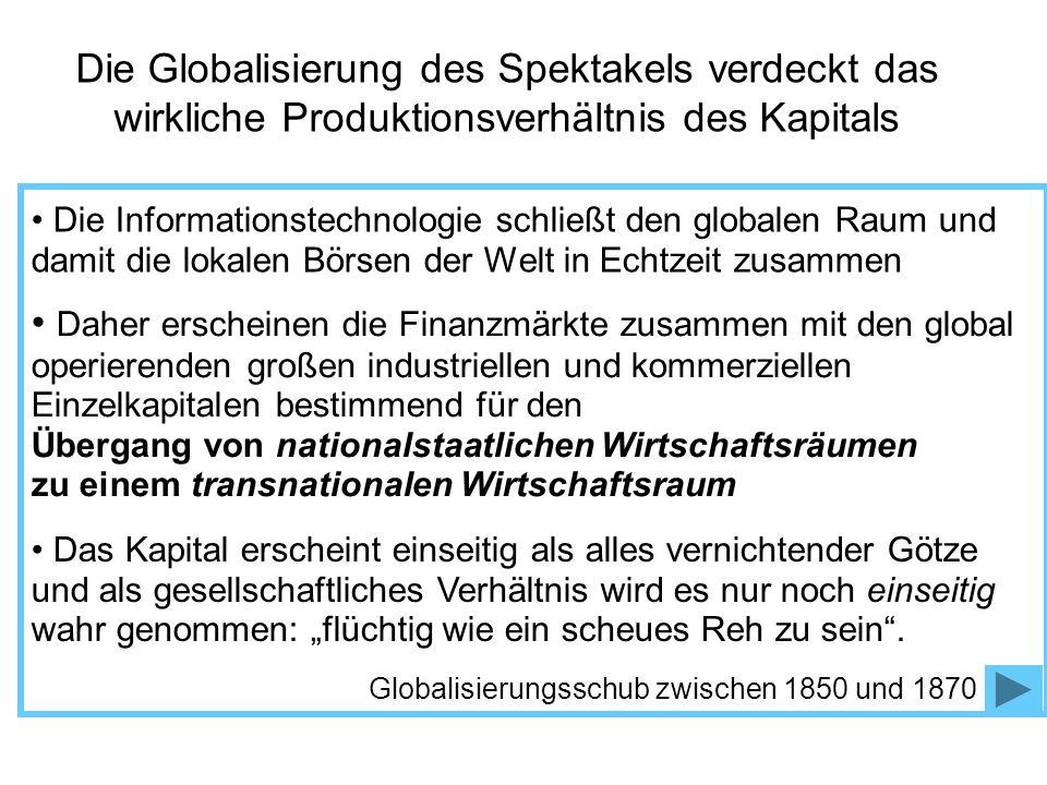 Die Globalisierung des Spektakels verdeckt das wirkliche Produktionsverhältnis des Kapitals Die Informationstechnologie schließt den globalen Raum und