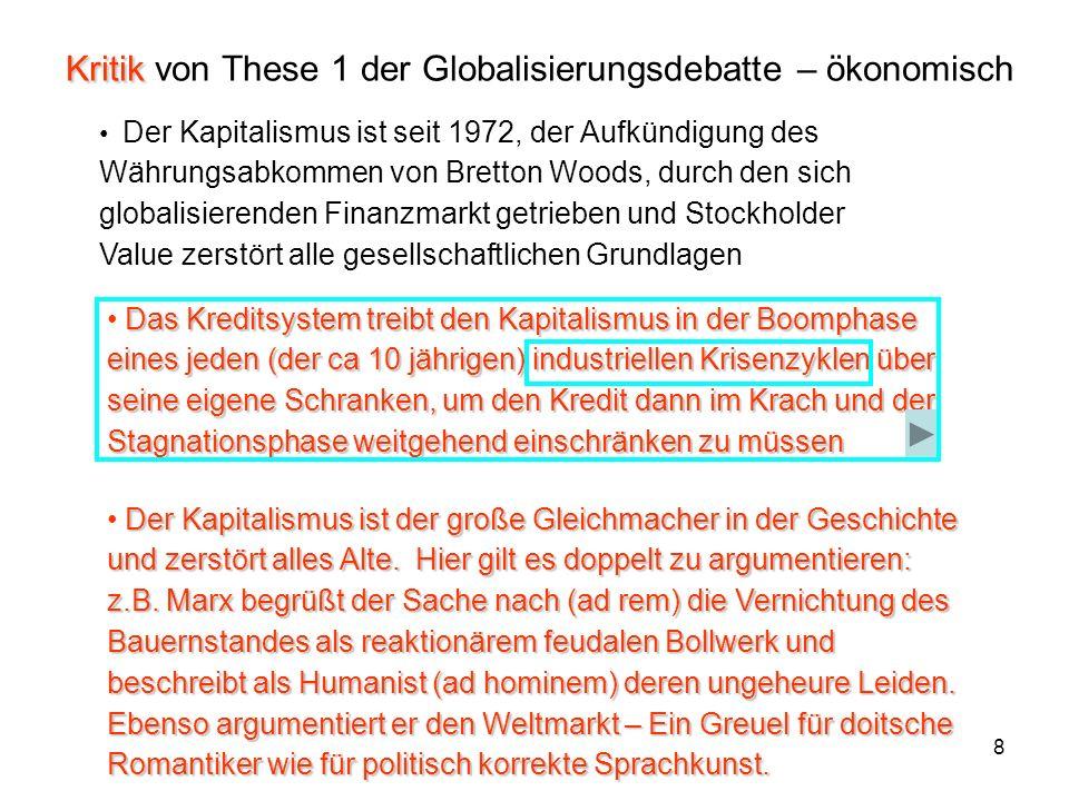 19 381 Diese Visualisierung in Form der BIPs betont das nebeneinander der Reproduktion der gesellschaftlichen Gesamtkapitale – als integralen Bestandteilen des Weltmarkts – dieser bildet von der stofflichen Zusammen- setzung des Kapitals ein Ganzes – ähnlich wie die ökonomischen Unterräume: HEGEMON GERMANY USA JAPAN 9463 Brutto-Inlands-Produkt (BIP) 2003 der 30 OECD Staaten 764 131 757 146 215 170 182 303 460 212 122 1402 503 179 323 2712 OECD-Europe 11256 Mrd $ RUS 460 Mrd $ OECD- NAFTA 10408 Mrd $ OECD-Asien 7057 Mrd $ China 1000 Mrd $ 59 1834 350 60 1240 267 20 698 1000 492 76 5867 geordnete Zahlenzusammenstellung siehe Fol 10 die vorliegende Weltkarte ist gespickt mit orangen (!) Fähnchen des Korrospondentennetzes des Handelblatts – der Weltsicht des gesellschaftlichen Gesamtkapitals des Standorts BRD – In Kauf genommen wurde hierbei die störende Karteninterpretation Tatsächlich gibt es kein ruhiges Miteinan- der der großen gegen die kleinen sondern scharfe Konkurrenz der nationalen Gesamt- kapitale um die Stellung am Weltmarkt unter politischer Führung der sich historisch heraus- bildenden ökonomischen Schwergewichte at 1995 prices and 1995 exchange rates - BIP 2003 in Milliarden $ Quellen: OECD, WTO -