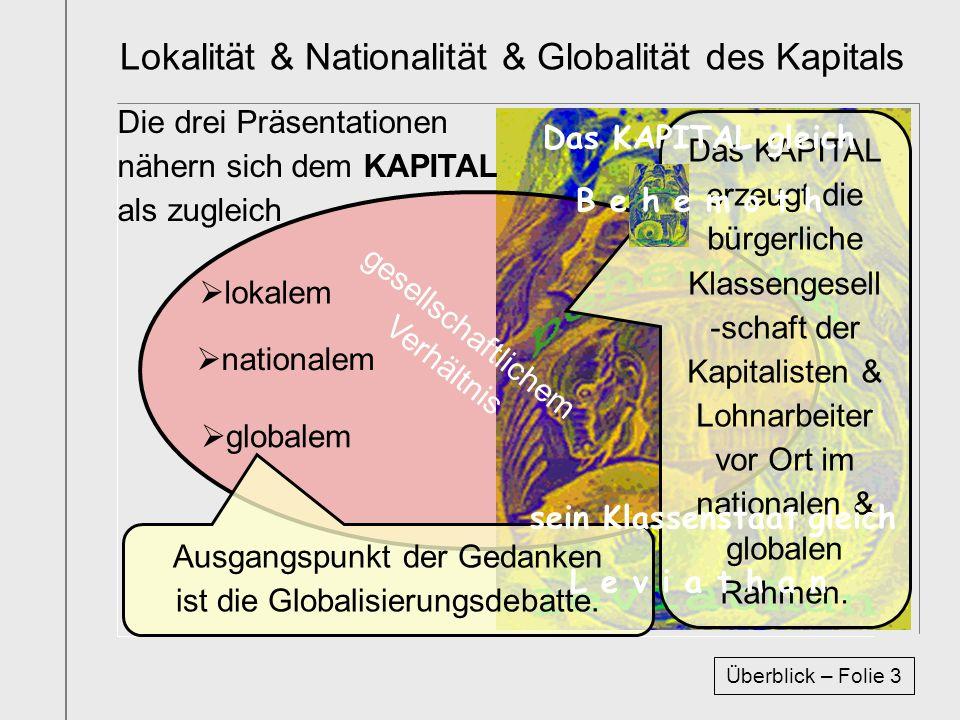 Lokalität & Nationalität & Globalität des Kapitals lokalem nationalem globalem gesellschaftlichem Verhältnis Ausgangspunkt der Gedanken ist die Global