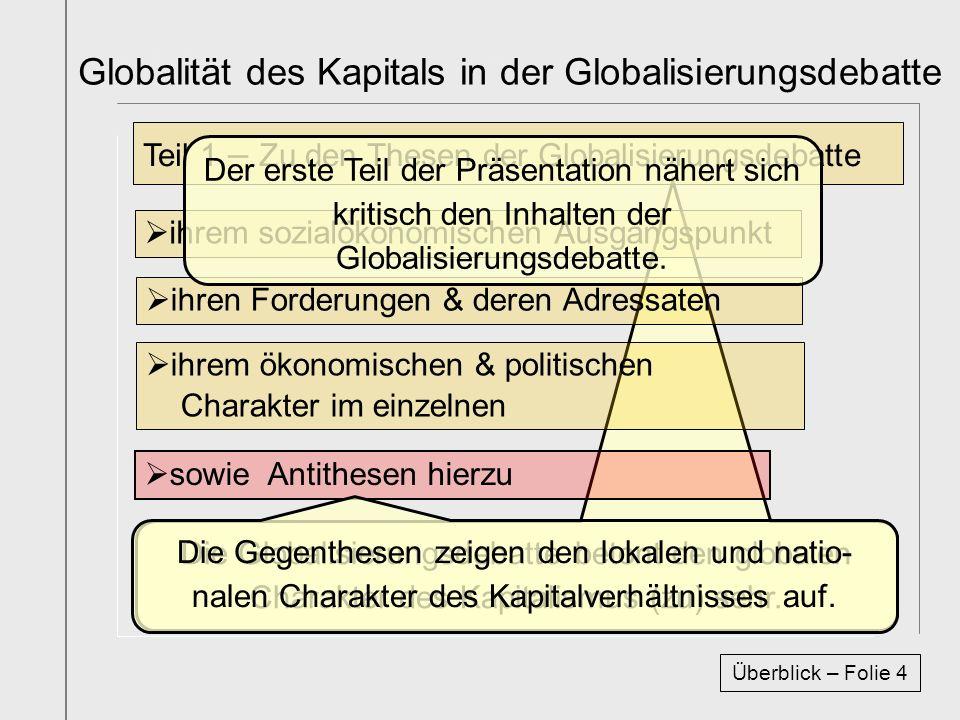 Titelfolie Buch1 Abschnitt1 Die Globalisierungsdebatte betont den globalen Charakter des Kapitalismus (zu) sehr. ihrem sozialökonomischen Ausgangspunk