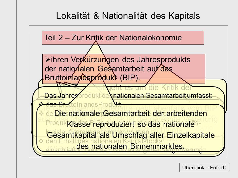Zunächst geht es um die Kritik der wissenschaftlichen Verkürzungen der Nationalökonomen. Das BIP ist Dreh- und Angelpunkt aller Nationalökonomie. Das