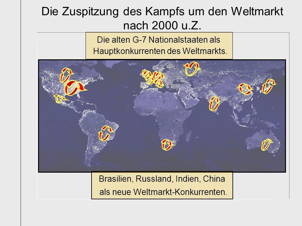 Die alten G-7 Nationalstaaten als Hauptkonkurrenten des Weltmarkts. Brasilien, Russland, Indien, China als neue Weltmarkt-Konkurrenten. Die Zuspitzung