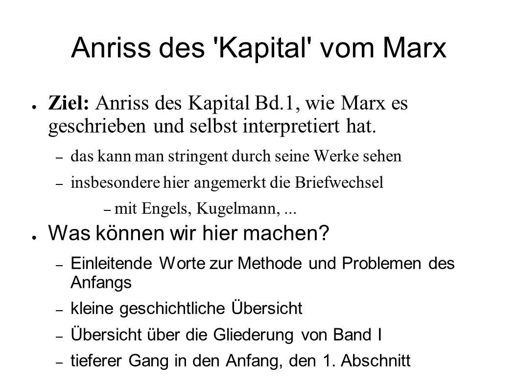 Anriss des 'Kapital' vom Marx Ziel: Anriss des Kapital Bd.1, wie Marx es geschrieben und selbst interpretiert hat. – das kann man stringent durch sein