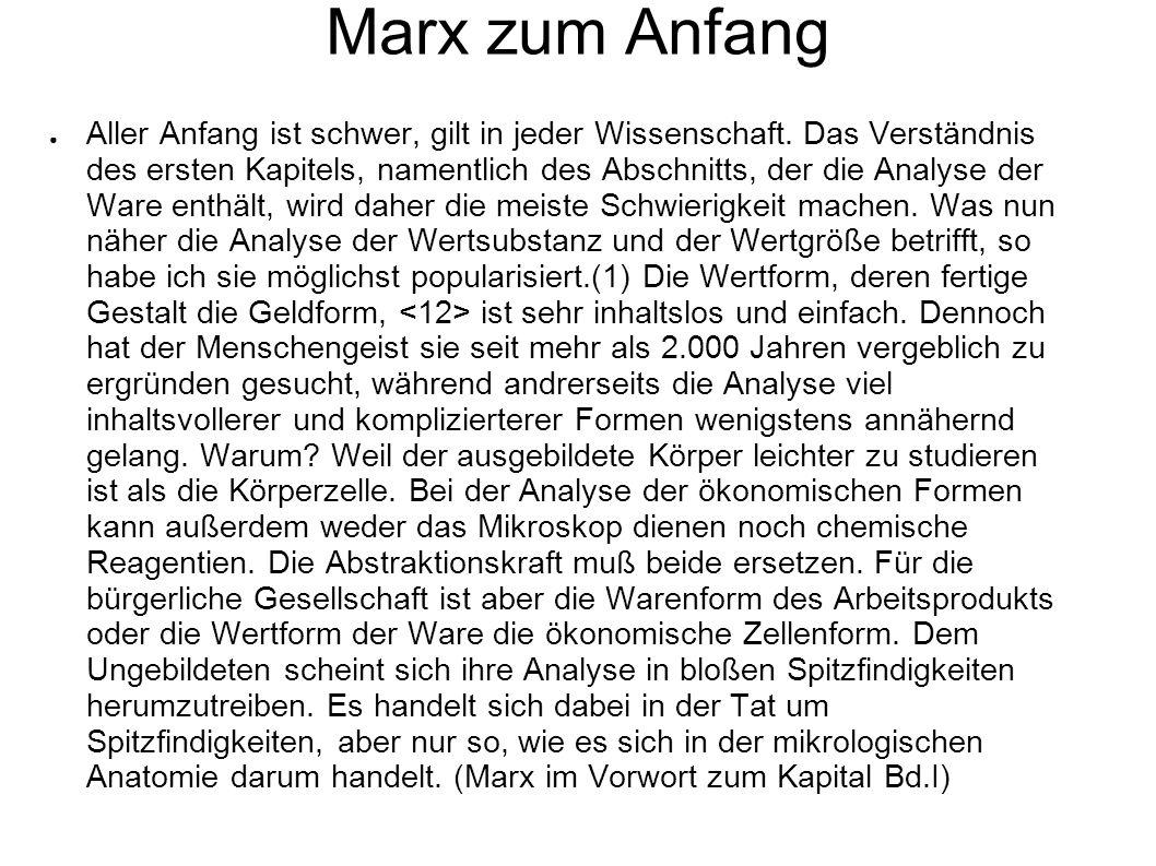 Marx zum Anfang Aller Anfang ist schwer, gilt in jeder Wissenschaft. Das Verständnis des ersten Kapitels, namentlich des Abschnitts, der die Analyse d