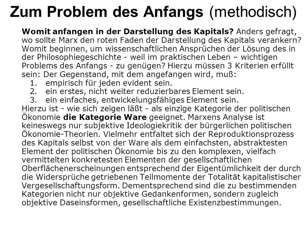 Zum Problem des Anfangs (methodisch) Womit anfangen in der Darstellung des Kapitals? Anders gefragt, wo sollte Marx den roten Faden der Darstellung de