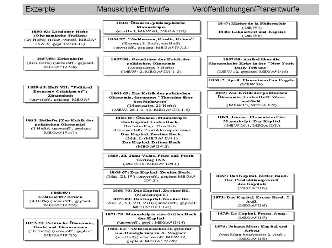 ExzerpteManuskripte/EntwürfeVeröffentlichungen/Planentwürfe