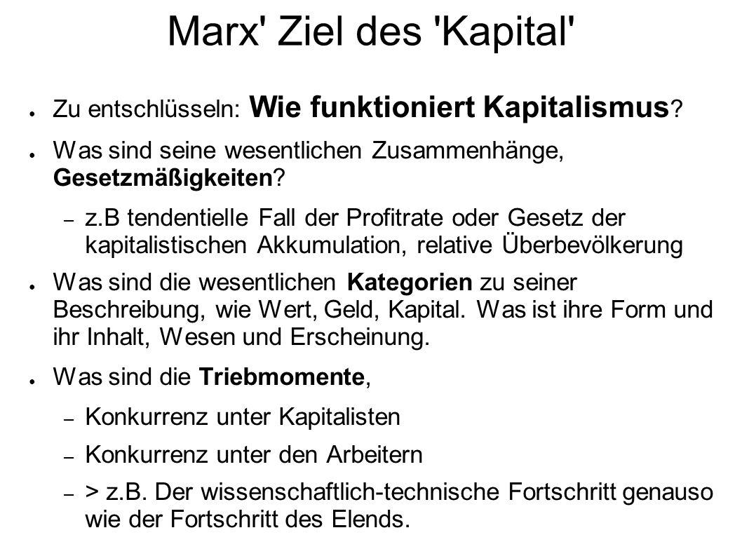 Marx' Ziel des 'Kapital' Zu entschlüsseln: Wie funktioniert Kapitalismus ? Was sind seine wesentlichen Zusammenhänge, Gesetzmäßigkeiten? – z.B tendent