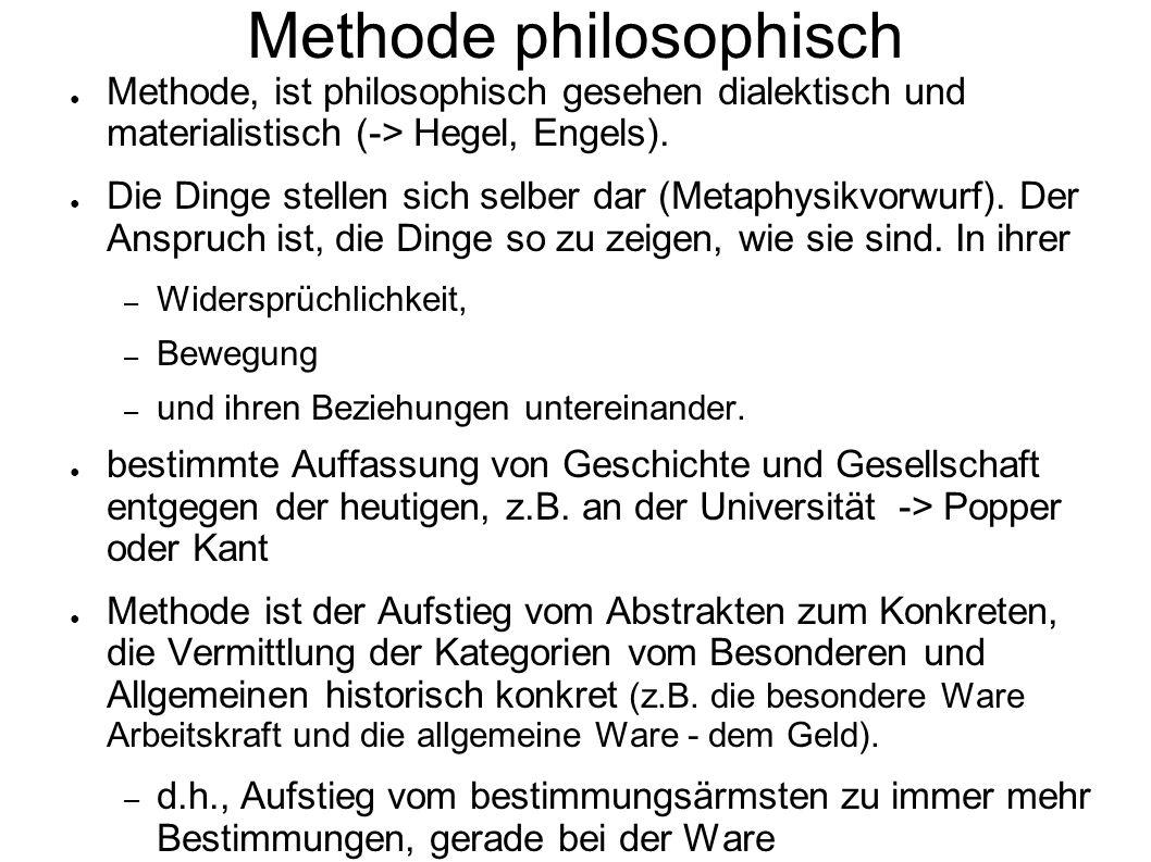Methode philosophisch Methode, ist philosophisch gesehen dialektisch und materialistisch (-> Hegel, Engels). Die Dinge stellen sich selber dar (Metaph