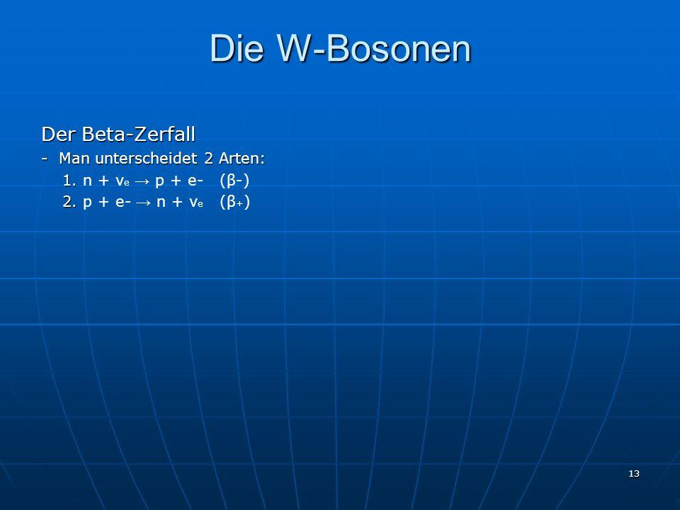 13 Die W-Bosonen Der Beta-Zerfall - Man unterscheidet 2 Arten: 1. 1. n + ν e p + e- (β-) 2. 2. p + e- n + ν e (β + )