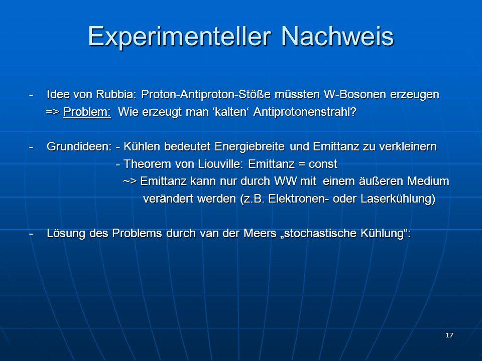 17 Experimenteller Nachweis - Idee von Rubbia: Proton-Antiproton-Stöße müssten W-Bosonen erzeugen => Problem: Wie erzeugt man kalten Antiprotonenstrah