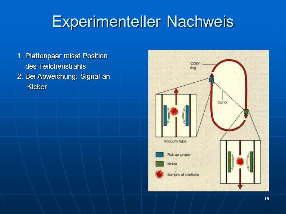 18 Experimenteller Nachweis 1. Plattenpaar misst Position des Teilchenstrahls des Teilchenstrahls 2. Bei Abweichung: Signal an Kicker Kicker