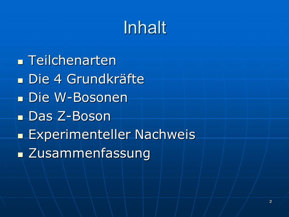2 Inhalt Teilchenarten Teilchenarten Die 4 Grundkräfte Die 4 Grundkräfte Die W-Bosonen Die W-Bosonen Das Z-Boson Das Z-Boson Experimenteller Nachweis