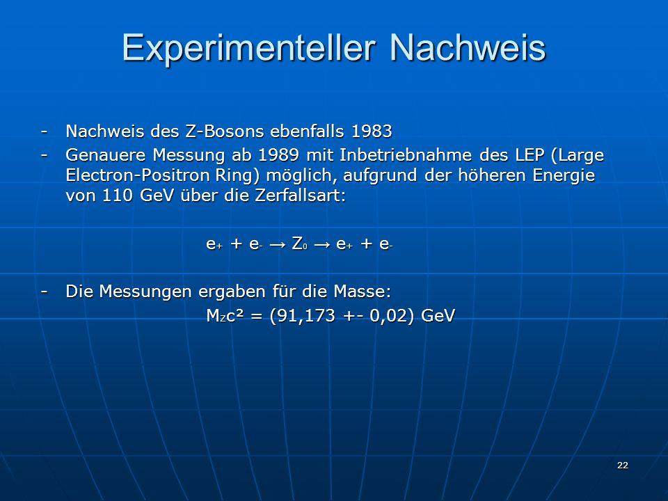 22 Experimenteller Nachweis - Nachweis des Z-Bosons ebenfalls 1983 - Genauere Messung ab 1989 mit Inbetriebnahme des LEP (Large Electron-Positron Ring