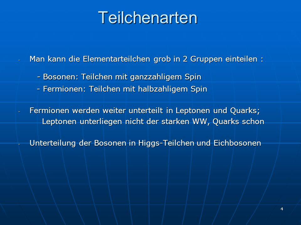 4 Teilchenarten - Man kann die Elementarteilchen grob in 2 Gruppen einteilen : - Bosonen: Teilchen mit ganzzahligem Spin - Bosonen: Teilchen mit ganzz