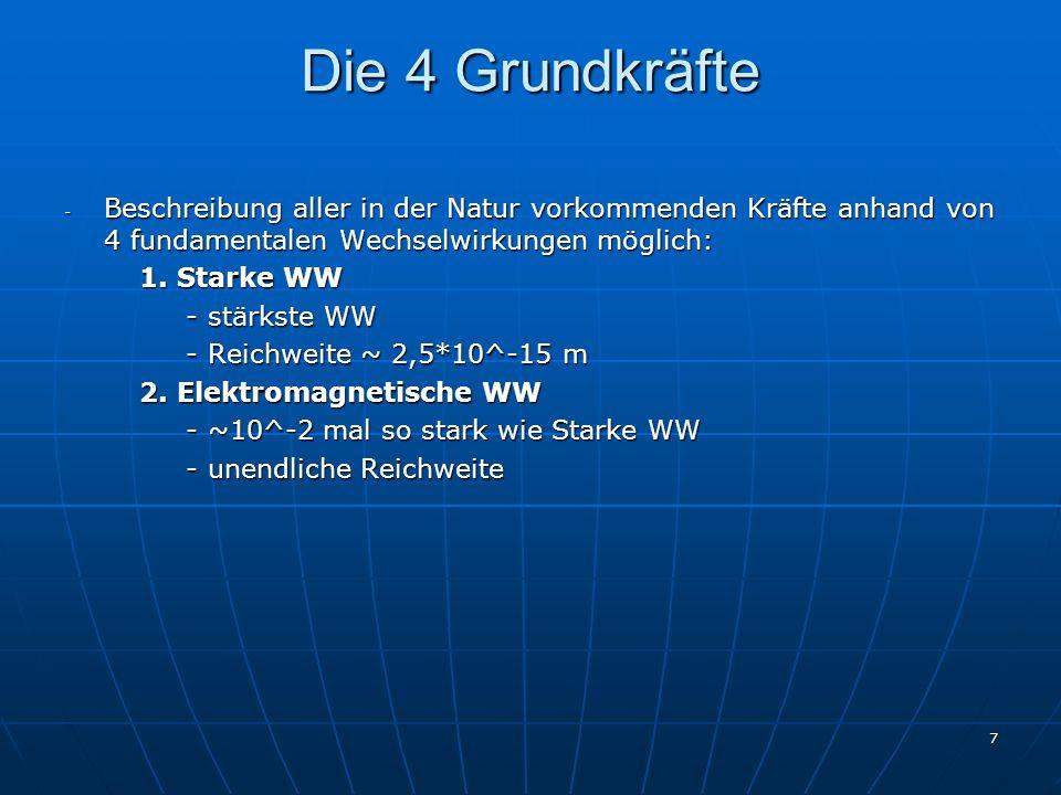 7 Die 4 Grundkräfte - Beschreibung aller in der Natur vorkommenden Kräfte anhand von 4 fundamentalen Wechselwirkungen möglich: 1. Starke WW 1. Starke
