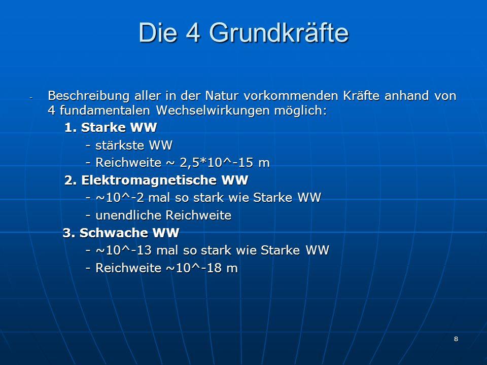 8 Die 4 Grundkräfte - Beschreibung aller in der Natur vorkommenden Kräfte anhand von 4 fundamentalen Wechselwirkungen möglich: 1. Starke WW 1. Starke
