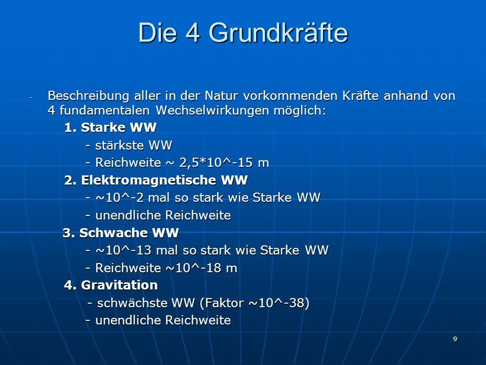 9 Die 4 Grundkräfte - Beschreibung aller in der Natur vorkommenden Kräfte anhand von 4 fundamentalen Wechselwirkungen möglich: 1. Starke WW 1. Starke