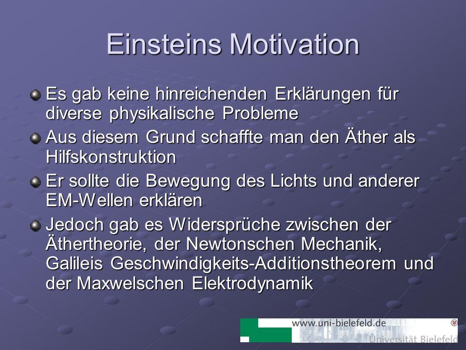 Einsteins Motivation Es gab keine hinreichenden Erklärungen für diverse physikalische Probleme Aus diesem Grund schaffte man den Äther als Hilfskonstr