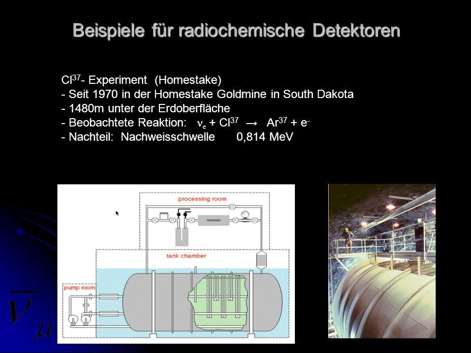 Beispiele für radiochemische Detektoren Cl 37 - Experiment (Homestake) - Seit 1970 in der Homestake Goldmine in South Dakota - 1480m unter der Erdober
