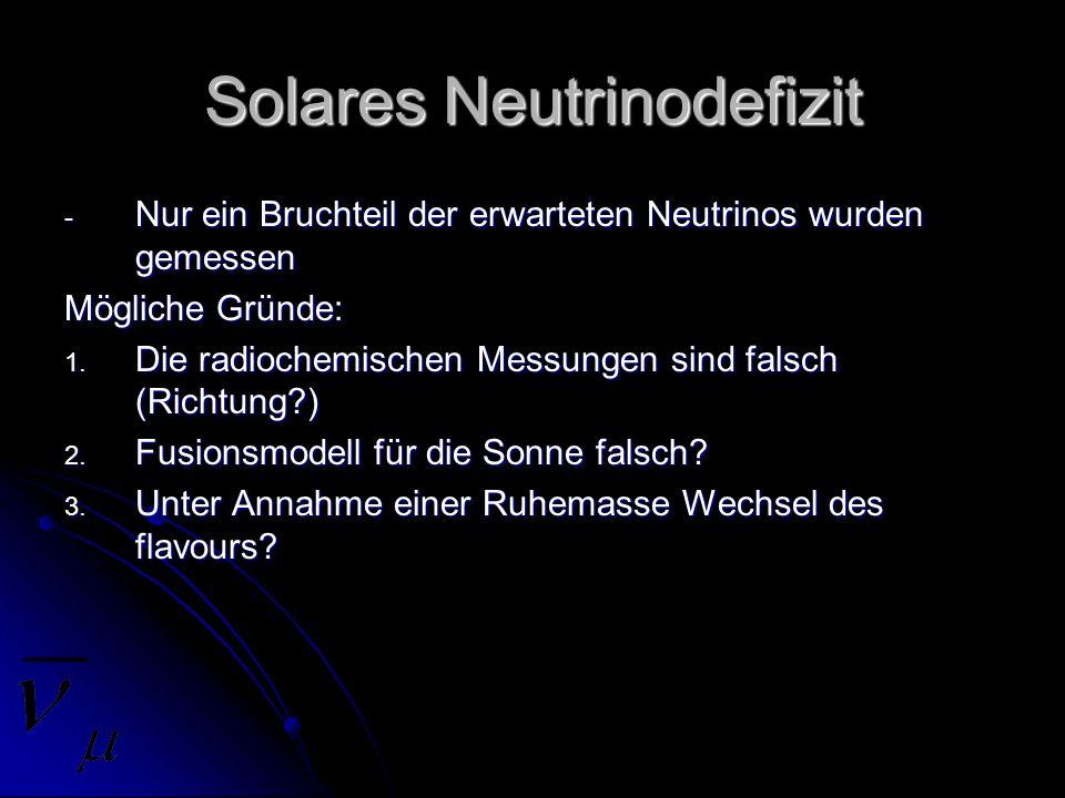 Solares Neutrinodefizit - Nur ein Bruchteil der erwarteten Neutrinos wurden gemessen Mögliche Gründe: 1. Die radiochemischen Messungen sind falsch (Ri