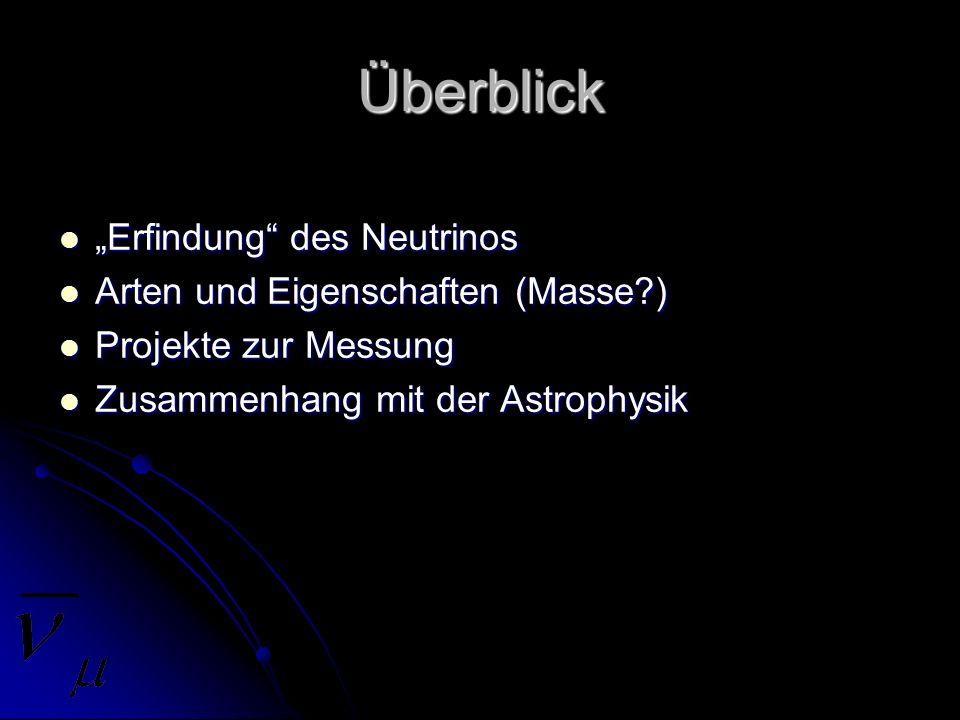 Überblick Erfindung des Neutrinos Erfindung des Neutrinos Arten und Eigenschaften (Masse?) Arten und Eigenschaften (Masse?) Projekte zur Messung Proje