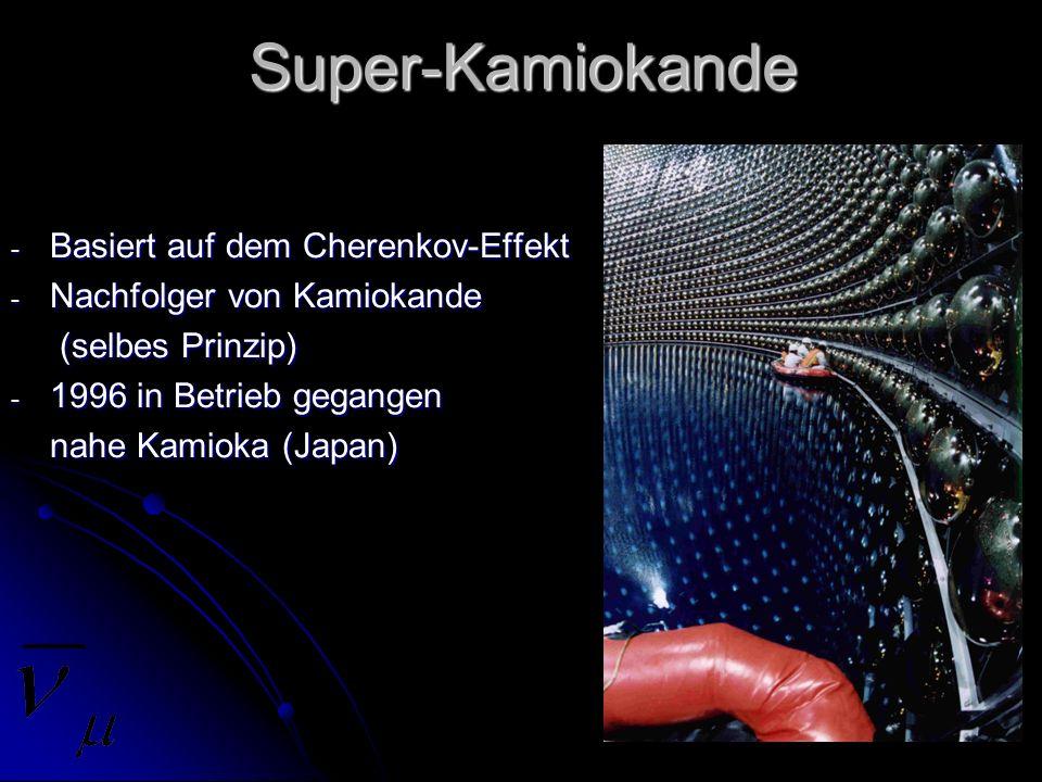 Super-Kamiokande - Basiert auf dem Cherenkov-Effekt - Nachfolger von Kamiokande (selbes Prinzip) (selbes Prinzip) - 1996 in Betrieb gegangen nahe Kami