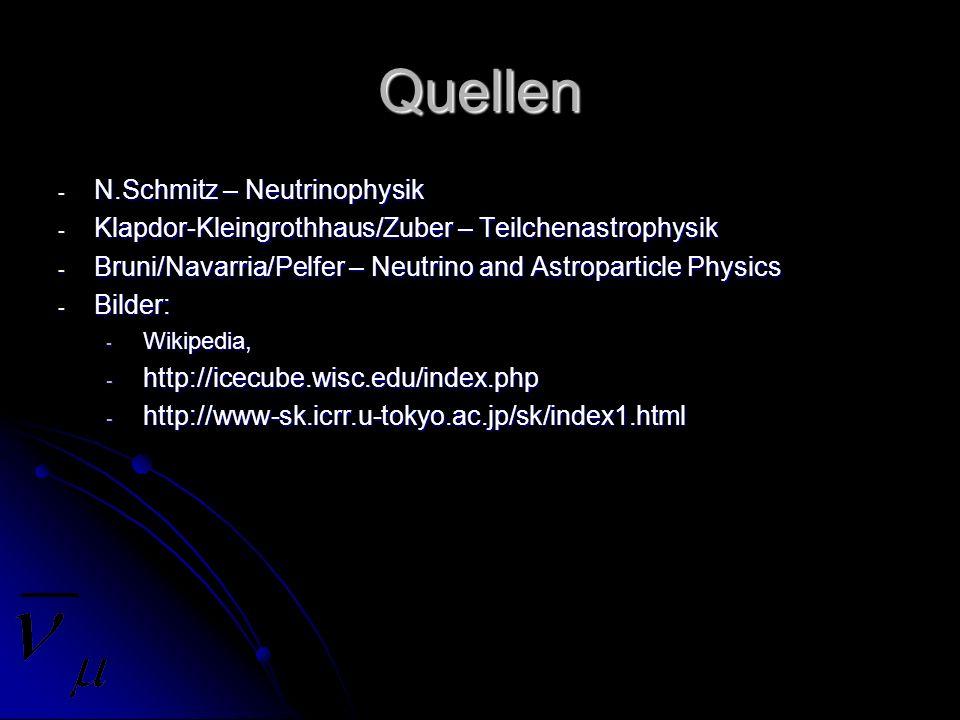 Quellen - N.Schmitz – Neutrinophysik - Klapdor-Kleingrothhaus/Zuber – Teilchenastrophysik - Bruni/Navarria/Pelfer – Neutrino and Astroparticle Physics