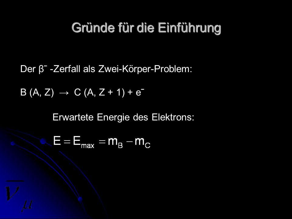 Gründe für die Einführung Der βˉ -Zerfall als Zwei-Körper-Problem: B (A, Z) C (A, Z + 1) + eˉ Erwartete Energie des Elektrons: