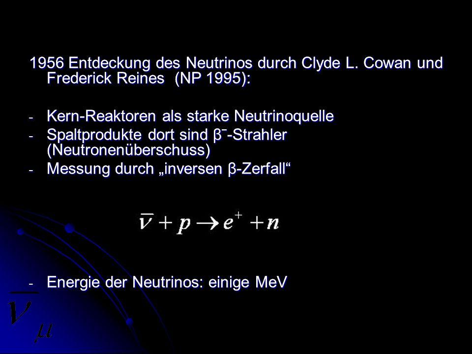 1956 Entdeckung des Neutrinos durch Clyde L. Cowan und Frederick Reines (NP 1995): - Kern-Reaktoren als starke Neutrinoquelle - Spaltprodukte dort sin