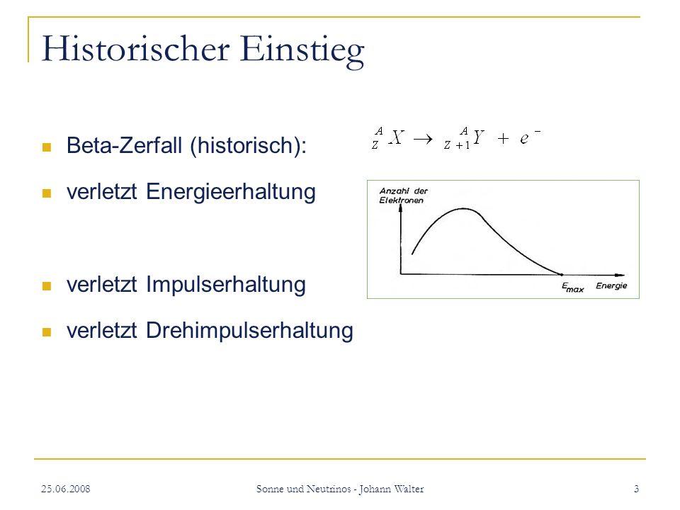 25.06.2008 Sonne und Neutrinos - Johann Walter 3 Historischer Einstieg Beta-Zerfall (historisch): verletzt Energieerhaltung verletzt Impulserhaltung verletzt Drehimpulserhaltung