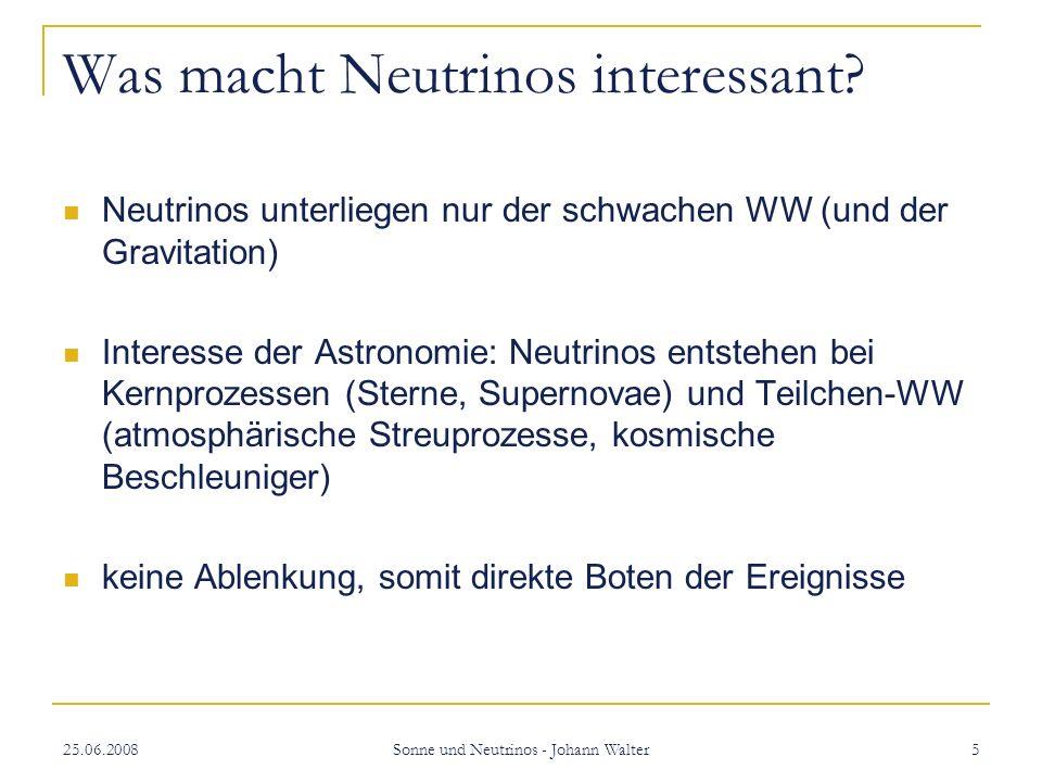 25.06.2008 Sonne und Neutrinos - Johann Walter 6 Spektrum der solaren Neutrinos 3 grobe Klassen von Neutrinos 85% unter 422keV (pp-Neutrinos) ~15% durch Zerfall von 7 Be ~0,015% hochenergetische Neutrinos bis 14MeV durch Zerfall von 8 B