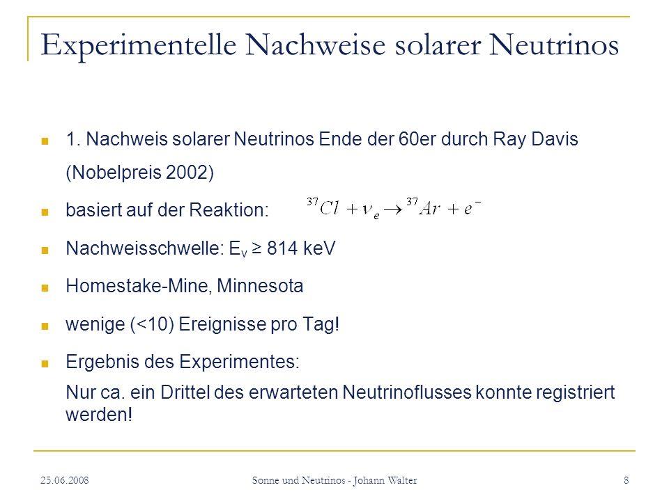 25.06.2008 Sonne und Neutrinos - Johann Walter 19 Ergebnisse von SNO und SK SNO: Gesamtfluss der solaren Neutrinos entspricht sehr genau dem berechneten Fluss an v e ein Drittel v e : 1,76Mio (cm s) -1 zwei Drittel v µ und v τ : 3,41Mio (cm s)-1 für E v 5 MeV SK: Nachweis der Neutrinooszillation durch Messung atmosphärischer Neutrinos (Richtung der einfallenden Neutrinos spielt eine Rolle)