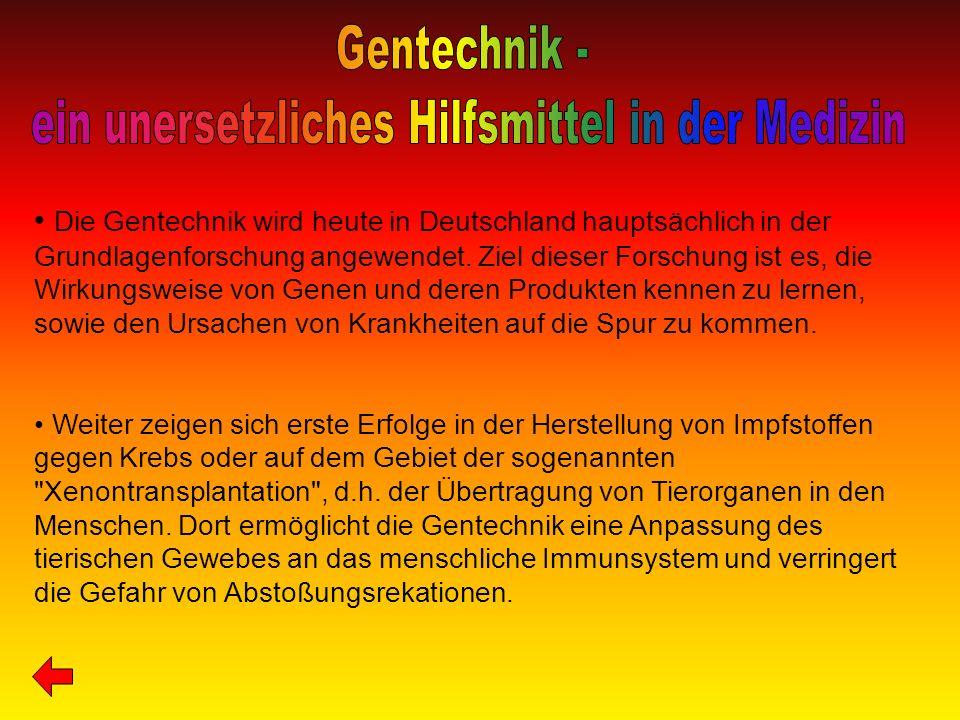 Die Gentechnik wird heute in Deutschland hauptsächlich in der Grundlagenforschung angewendet. Ziel dieser Forschung ist es, die Wirkungsweise von Gene