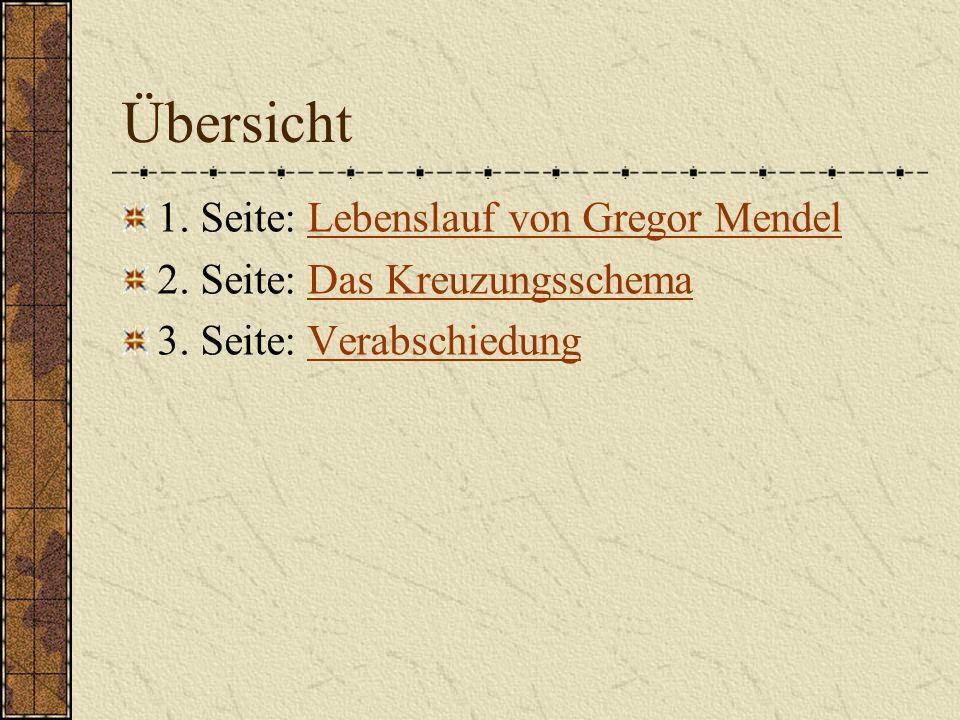 Übersicht 1. Seite: Lebenslauf von Gregor MendelLebenslauf von Gregor Mendel 2. Seite: Das KreuzungsschemaDas Kreuzungsschema 3. Seite: Verabschiedung